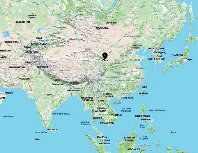 Cartina geografica della Cina